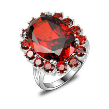 Sunflower Shiny Natural Fire Red Garnet Gemstone Crystal Silver Rings Size 7 8 9