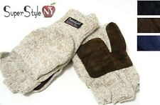 Wool Insulated Suede Patch Lining Fingerless Mittens Men's New Gloves Snow