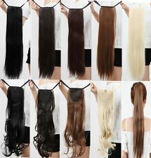 Bandage Straight/Curly Ponytail Horsetail Hairpiece Clip-in Hair Extensions jw