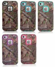 Realtree Camo Hybrid Drop Defender Hard Case Cover For iPhone 4 4s Brown Tree