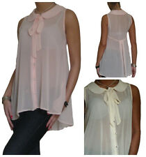 BNWT Womens Ladies Blouse Shirt Top Chiffon Pussy Bow Evening 10 12 14 16 18 20