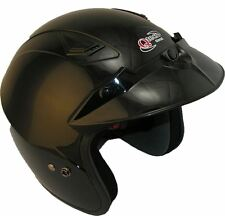 OPEN Face MOTORCYCLE Scooter BLACK Crash HELMET MotorBike Trials by Qtech