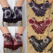 New Fashion Women Ladies Winter Soft Leather Mitten Gloves Warm Driving 78