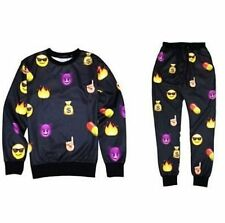 Hot!Men/women New White print cartoon emoji suits sweatshirts + pants tracksuits