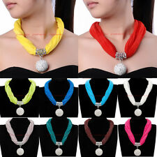 Beautiful Charms Crystal Drop Pendant Necklace Scarf Wrap Shawl Stole Jewelry