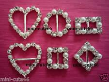 Heart Round Square Rectangle Diamante Pearl Ribbon Slider Rhinestone buckle Card