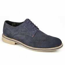Roamers Mens Suede Leather Lace Up Brogue Comfy Smart Casual Shoes Navy Blue New