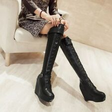 Womens Punk Buckle Side Zipper Wedge Heel Platform Lace Up Over The Knee Boots