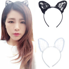 Sexy Cat Ears Black Wired Lace Headband Halloween Cosplay Fancy Dress Supplies