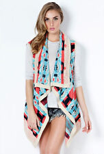 Aqua Blue Pink Black Taupe Aztec Tribal Open Asymmetrical Draped Cardigan NWT