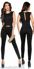 Sexy Overall mit Goldschnalle Jumpsuit Catsuits Party  Gr. 36 38 40 0000BK6564