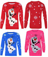 KIDS GIRLS BOYS OLAF FROZEN CHRISTMAS JUMPER MINIONS XMAS SWEATER  3-12Years