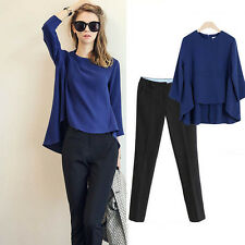 2014 Lady Exquisite Natural&Simple Style Cool Slim Leisure Suit Batwin Top+Pants