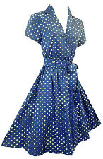 New Blue Polka Dot WWII 1940's Land Girl, Home Front classic Swing Tea Dress