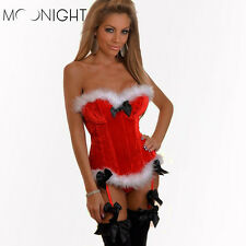 Sexy Women's Christmas Corset Bustier Santa Xmas Fancy Dress Red Outfit S - 2XL