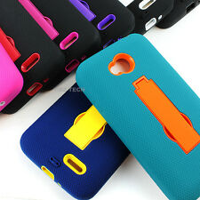 For LG Optimus Exceed 2 VS450PP Rugged Impact Hybrid Hard Soft Case Cover Stand