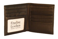 FINELINE LEATHER Men's Leather Credit Card Wallet With Photo ID Window #104