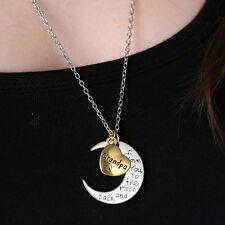 "New Hot Family ""I LOVE YOU TO THE MOON AND BACK "" Necklace Pendant Fortune Gift"