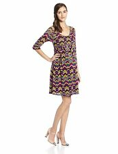 New MATERNAL AMERICA Maternity Sophisticated Scoopneck Chevron Empire Dress $128