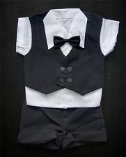 Charcoal Grey BABY BOY SHORTS OUTFIT, Special Occasion Suit, Wedding, Age 0-3