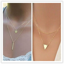 Gold Plated layer Necklace Set Vertical Bar Triangle Delicate Pendant Jewelry
