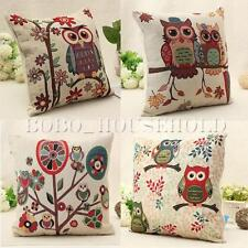 Tapestry Vintage Owl Cushion Cover Throw Pillow Cases Cotton Linen Home Decor