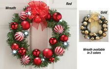 """Collections Etc 15"""" Led Holiday Ornament Wreath Door Decor"""