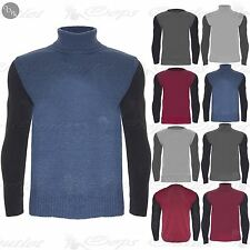 New Mens Designer Contrast Long Sleeves Polo Roll Neck Knitted Pullover Jumper