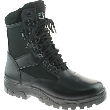 MENS GRAFTERS WATERPROOF COMBAT BOOTS SIZE 3 - 13 LEATHER BLACK M482A KD