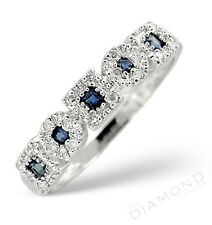 9k W. Gold Sapphire & Diamond Eternity Ring Made In The Jewellery Quarter London