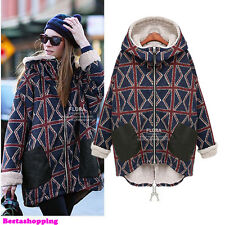 Thicken Winter Warm Womens Plaid Zip Up Hooded Jacket Coat Parka Overcoat Trench