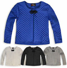 Girls Quilted Cropped Party Jacket Long Sleeve Padded New Kids Age 7 - 13 Years