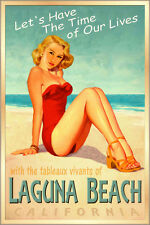 LAGUNA BEACH California -Surf Sand Sea Poster Miley Cyrus Pin Up Art Print 241a
