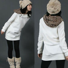Hot Women Hoodie Sweatshirt Leopard Tops Blouses Sweater Pullover Outerwear Coat