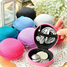 Unisex Women Round Zipper Coin Purse Wallet Pouch Bag Key Headset Men Gift