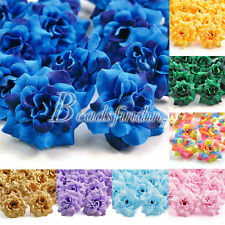 50pcs New DIY Roses Artificial Silk Beautiful Flower Heads for Clips Wedding