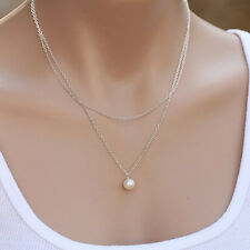 Fashion Jewelry Elegant Womens Simple 2 Layers Pearl Necklace Chain Gifts New