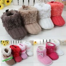 2014 Infant Baby Girls Bowknot Snow Boots Crib Shoes Toddler Warm Fleece Boots