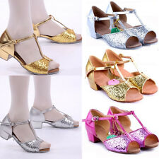 Kids Girls Ballroom Latin Salsa Tango Glitter Dance Shoes Sequins Heeled UK Size