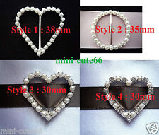 Round Heart Pearl Diamante Silver Buckle Ribbon Slider Card Cake Wedding Craft