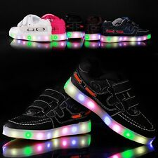 Boys Girls Colorful LED Light Up Sports Velcro Baby Sneakers Kids Dance Shoes