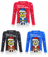 KIDS GIRLS BOYS MINIONS CHRISTMAS JUMPER MINIONS XMAS SWEATER 3-12Years -