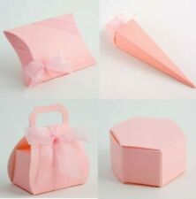 Luxury DIY Wedding Christening Baby Party Favour Gift Sweet Boxes PALE PINK SILK