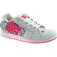 KIDS GIRLS DC LEATHER SKATER TRAINERS SIZE 10 - 4 WHITE NET SE 302365 WCI