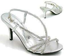 LADIES BRIDAL SANDALS HIGH HEEL DIAMANTE SLING BACK PARTY EVENING SHOES SIZE