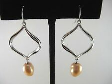 New QVC Honora Cultured Pearl Baroque Shaped Openwork Dangle Sterling Earrings