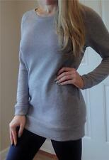 Long Gray Tunic Melange French Terry Over sized Boyfriend Pull Crew Sweater