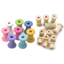 Wood Wooden Empty Thread Spools Natural Cylinder Craft ROUND ENDS 4ribbon lace