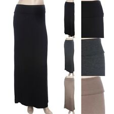 Fold Over Waistband Solid Maxi Skirt Full Length Long Easy Wear Rayon Span S M L