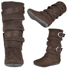 Kids Girls Fabric Knit Buckle Accent Faux Suede Winter Mid Calf Boots Brown